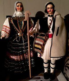 Vintage souvenir Pair Of Greek dolls - Shepherd & woman In Traditional Clothing #Dolls