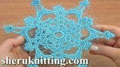 How to Crochet Snowflake Tutorial 25 http://sheruknitting.com/videos-about-knitting/crochet-elements-and-projects/item/844-crochet-6-ray-snowflake-pattern-tutorial-25.html In this crochet snowflake pattern I will be showing you how to crochet this 6-ray snowflake. This crochet 6-ray snowflake pattern has 6 rounds.