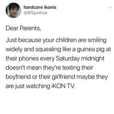 It's at like for me boy yeah that's why I'm laughing at my phone So Much Love, My Love, Sassy Diva, Dear Parents, Hanbin, Proud Of You, Ikon, Laughing, Texts