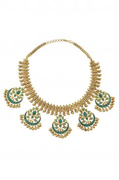 Silver Gold Plated Crystal & Turquoise Studded Floral Necklace