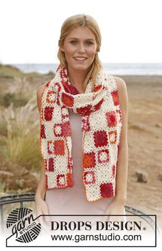 "Crochet DROPS scarf with squares in ""Fabel"". ~ free pattern"