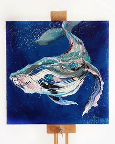 А вот и новый кит величавый и довольней  Написан акрилом от @maleviches  Раньше, как-то я не сталкивалась с этой краской, но…