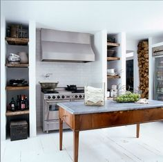 Darryl Carter, Elle Decor, kitchen, white, eclectic, rustic chic, stacked wood
