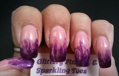 Glittery Fingers & Sparkling Toes: Pink & Purple Dry Marble French Tips