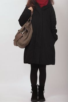 hoodie Padded Coat Women Winter black Coat by MaLieb on Etsy