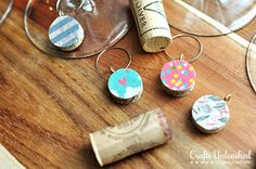 Washi tape DIY wine charms - out of corks!