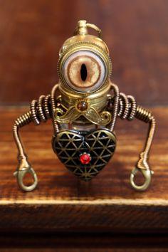 Petit robot steampunk à moustache avec coeur par CatherinetteRings