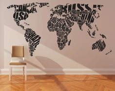 "Wall Decal Vinyl Sticker Home Decor Modern Art Mural "" World MAP "" 68.5'' x 133"". Would be really cool in a kids room or home school room!"