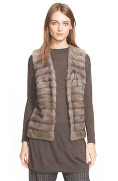 Eleventy Genuine Mink Fur Vest with Cable Knit Back