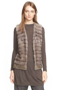 Eleventy Genuine Mink Fur Vest with Cable Knit Back