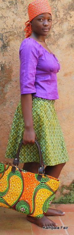african print fabric skirt and bag from Uganda