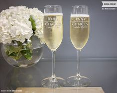 a80ec93968c Personalized Wedding Gift - (TWO) Vina Champagne Flutes - Custom Engraved  Toasting Glasses on