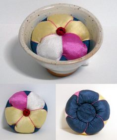 This item is a Korea traditional Pin cushion. It is a made of Silk 100%. This item is very unique and splendid Oriental beauty. Serve with a Oriental small tea cup - place this item on the tea cup and use it.  It's  exotic and convenient to do so.  https://www.etsy.com/listing/151336235/korea-traditonal-flower-shaped-silk-100