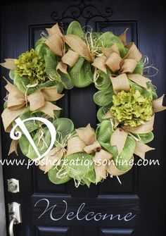 Spring Green, Summer Wreath,  Summer Mesh Wreath, Burlap Wreath, Deco Mesh Wreath, Summer Green, Custom initial Monogram via Etsy