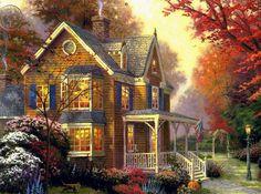 Resultado de imagem para painting autumn by thomas kinkade Victorian Paintings, Victorian Art, Thomas Kinkade Art, Kinkade Paintings, Thomas Kincaid, Art Thomas, Cottage Art, Cross Paintings, Autumn Art
