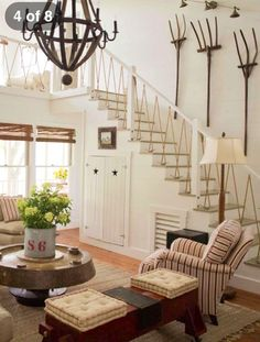 "oh...i would love this ""lake"" home...check out those rope stairs...very clever!  photo of celine stripling's home via country home july 2008"
