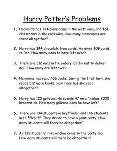 Harry Potter English, Harry Potter Words, Harry Potter Day, Harry Potter Sorting, Harry Potter School, Harry Potter Classroom, Harry Potter Birthday, Math For Kids, Fun Math