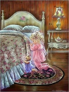 Trademark Global Tricia Reilly-Matthews 'A Prayer For You' Canvas Art - 24 x 32 Artist Canvas, Canvas Art, Image Pinterest, Bedtime Prayer, Prayer For You, Vintage Pictures, Belle Photo, Sweet Dreams, Good Night