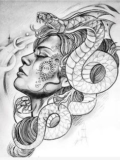 Medusa, the symbol of a woman's entrancing & enchanting pow Tattoos 3d, Finger Tattoos, Body Art Tattoos, Sleeve Tattoos, Tatoos, Tattoo Sketches, Tattoo Drawings, Art Sketches, Tattoo Gesicht