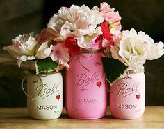 Rustic Shabby Chic Valentine's Day *  Pretty-in-Pink w/ Painted Hearts * Painted Mason Jars  * Wedding Ideas Turned Into Everyday DIY Decor Inspiration! Vintage Hand Painted Mason Jars Turned Vases * Romantic Country Living!