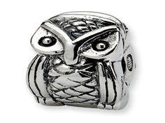 Kids Custom Sterling Silver Owl Clip Charm Bead Holder (Online at Gemologica.com)