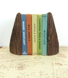 Rustic vintage handcrafted solid wood bookends by GilbertandCrick