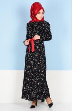 Sefamerve, Sefamerve Kuşaklı Elbise 3949-01 Siyah Kırmızı Fashion, Moda, Fasion, Fashion Illustrations, Fashion Models