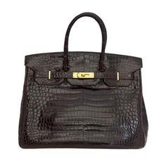HERMES Cognac Porosus Crocodile 35cm bag