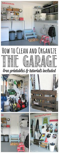 Everything you need to get your garage cleaned and organized! Tons of great ideas and tutorials as well as free printables to keep you on track. Part of The Household Organization Diet.pinning this now before I have the chance to clutter my new garage! Clean Garage, Garage Shed, Garage House, Garage Workshop, Garage Storage, Organized Garage, Do It Yourself Organization, Shed Organization, Household Organization