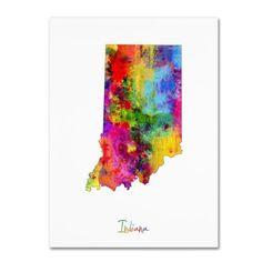 Trademark Fine Art Indiana Map Canvas Art by Michael Tompsett, Size: 35 x 47, Multicolor