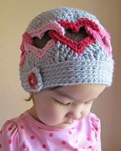 *********** This listing is for a CROCHET PATTERN in PDF format. ***********    Be Mine, Valentine! Joined hearts make this hat the perfect accessory