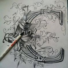 Creative Type, Typography, Lettering, Collection, and Illustration image ideas & inspiration on Designspiration Calligraphy Letters, Typography Letters, Islamic Calligraphy, Typography Served, Illuminated Letters, Illuminated Manuscript, Letter Art, Initial Art, Grafik Design