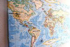 Världskarta på väggen. Ja. Jag tog ett tyg från Åhlens och spände upp på en skiva. December 25, Vintage World Maps, Instagram Posts
