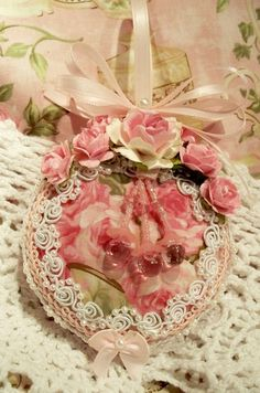 chic shabby christmas ornament pink cabbage rose fabric pearls venise lace ebay - Handmade Shabby Chic Christmas Decorations
