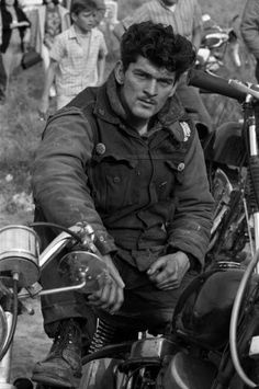 Another unpublished Bill Ray photo of a Hells Angel, seated on his bike, 1965.
