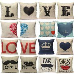 LOVE-Couple-Cushion-Cover-Linen-Cotton-Waist-Pillow-Case-Sofa-Bed-Home-Decor-NEW