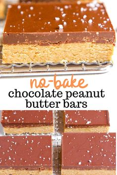 These no-bake chocolate peanut butter bars are a super easy and healthy dessert made from four gluten-free and vegan simple ingredients like peanut butter, oatmeal, maple syrup, and chocolate chips. They taste like a Reese's peanut butter cup but made healthier! #food #dessert #chocolate #peanutbutter #glutenfree #vegan