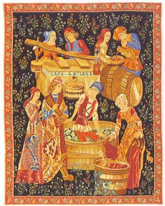 25x17 Medieval WINE MAKING Grapes Tapestry Wall Hanging $50