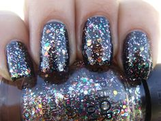 Sephora by OPI Spark-tacular Top Coat over black.