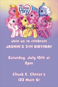 My Little Pony Invitation     My Little Pony Invitation. Your little girl will love this cute birthday invitation. It features the My Little Pony characters at the top and your party info at the bottom. Personalize it with your own wording. Order today!