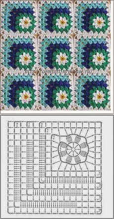Discover thousands of images about Crochet motif chart patterncrochet square pattern Crochet Bedspread Patterns Part 17 - Beautiful Crochet Patterns and Knitting Patterns - Crochet Bedspread Patterns Part Granny Square Rose SThis Pin was di Crochet Bedspread Pattern, Crochet Blocks, Granny Square Crochet Pattern, Crochet Pillow, Crochet Diagram, Crochet Chart, Crochet Squares, Crochet Blanket Patterns, Granny Squares