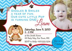 boy dog party invitations | Dog First Birthday Party Invitation Printable - Puppy Boy Invitation ...