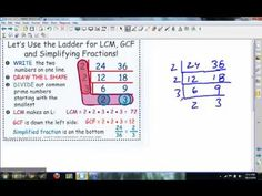 "The cake method.BEST way to teach GCF, LCM, and simplifying fractions! Check it out - your kids will LOVE it!I use this method, but draw a line between the ladder and call it a ""Factor T-Chart"" Math Strategies, Math Resources, Math Activities, Math Teacher, Math Classroom, Teaching Math, Simplifying Fractions, Math Fractions, Multiplication"