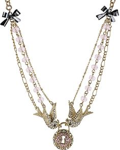 BIRD LOCK FRONTAL NECKLACE PINK accessories jewelry necklaces fashion