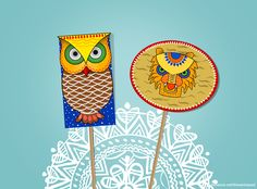 Poila Boishakh – Then and Now Indian Illustration, Graphic Design Illustration, Aztec City, Owl Doodle, Mother Language Day, Bengali New Year, Indian Traditional Paintings, Owl Mask, Diy Bookmarks