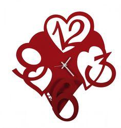 Zegar ścienny CUORE Czerwony - Arti&Mestieri - DECO Salon #clock #wallclock #giftidea #love #valentinesday