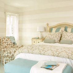 Striped walls and beachy colors. Beach house master bedroom soft blue and neutrals Home Bedroom, Bedroom Wall, Bedroom Decor, Bedroom Retreat, Shabby Bedroom, Bed Room, Bedroom Colors, Dream Bedroom, Shabby Cottage