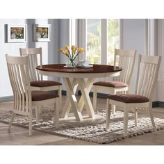 Aspen Buttermilk Slat Back 5-piece Round Dining Set - Overstock™ Shopping - Big Discounts on Dining Sets