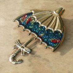 Vintage umbrella brooch pin 1970s from Jewels & Finery UK