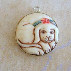 Sterling Silver Stylized Dog Puppy Bracelet Charm by Charmcrazey